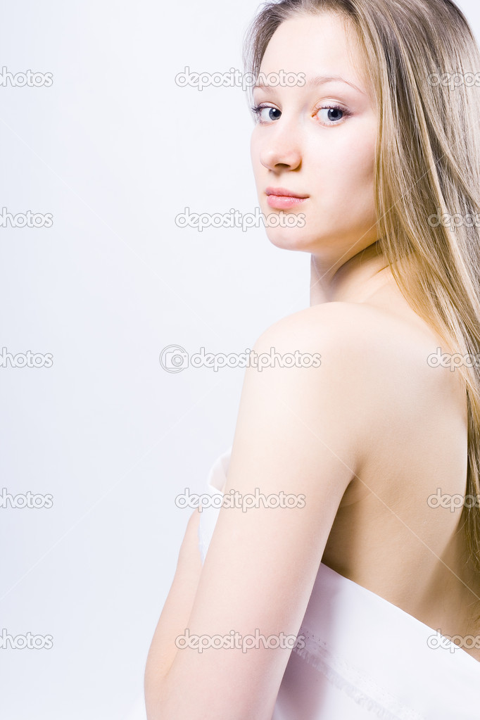 Picture of healthy naked woman over white  — Stock Photo #3723621