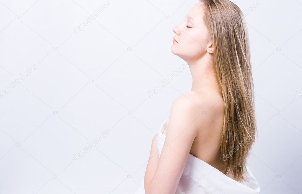 Picture of healthy naked woman over white  — Stock Photo #3723629
