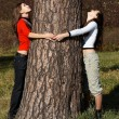 Girls under tree - Stock Photo