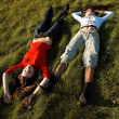 Girls on the grass — Stock Photo