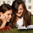 Girls reading the books on the lawn — Stock Photo