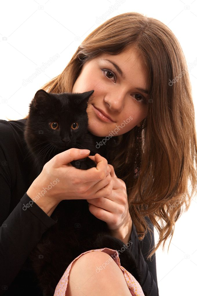 Portrait of brown-haired girl with black cat — Stock Photo #2721443