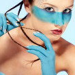 Girl's fantasy blue body-art — Stock Photo #2909201