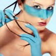 Girl's fantasy blue body-art — Stock Photo