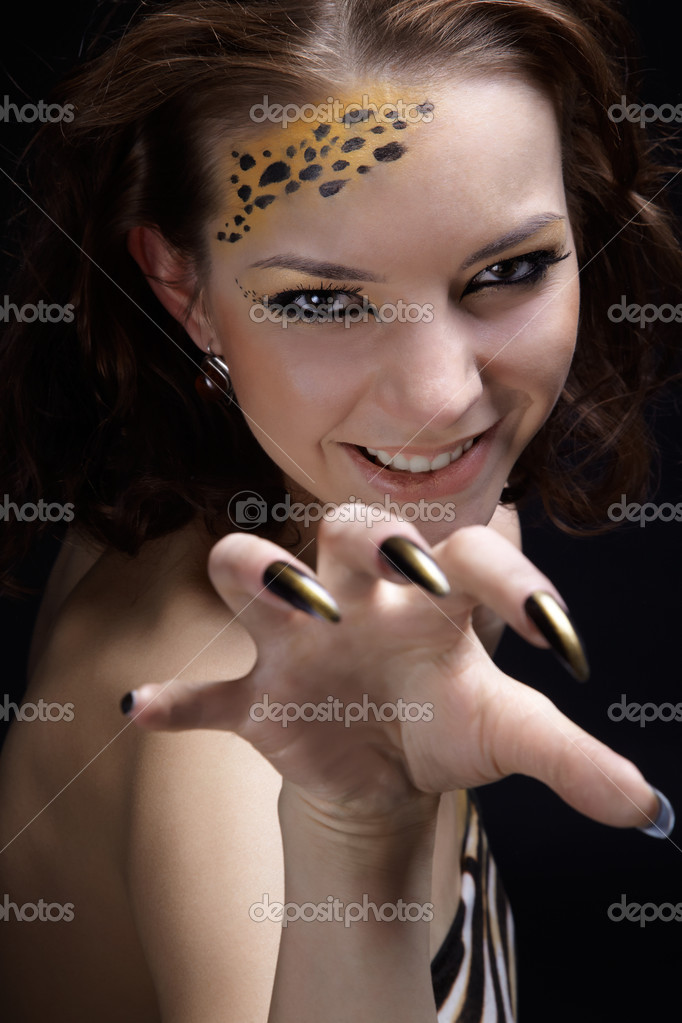 Portrait of girll in cat make-up and bodyart — Stock Photo #2968731