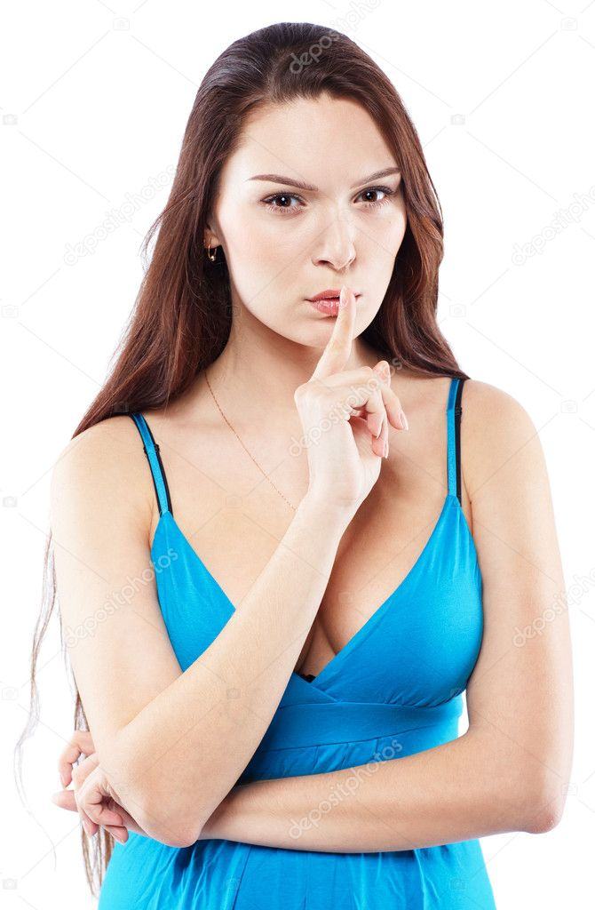 Portrait of beautiful girl putting her finger to lips — Stock Photo #3017376
