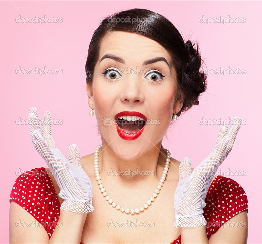 Pin-up style portrait of beautiful brunette girl posing in white gloves  Stock Photo #3019275