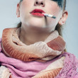 Stock Photo: Glam punk girl smoking