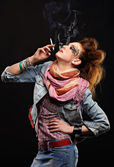 Glam punk girl smoking — Stock Photo