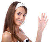 Model gives a wave — Stock Photo