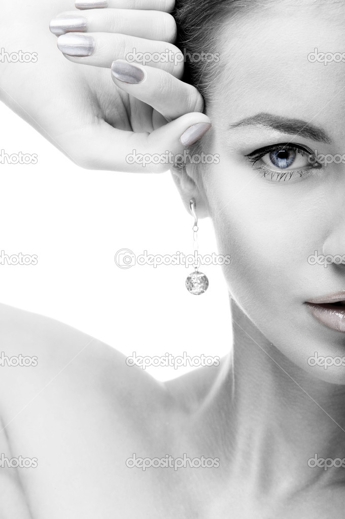 Close-up portrait of beautiful blue eyed caucasian model on white   #3050862