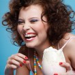 Girl with milk shake — Stok Fotoğraf #3070598