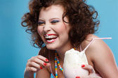 Girl with milk shake — Stockfoto
