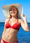 Blonde in red bikini — Stock Photo