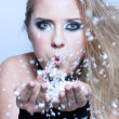 Girl blowing snow - Stock Photo