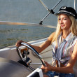 Beautiful blonde captain — Stock Photo