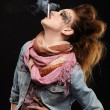 Glam punk girl smoking - Stok fotoğraf