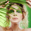 Dryad girl with fern - Stock Photo