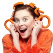 Girl in orange - Stock Photo