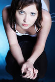 Beautiful girl on blue — Stock Photo