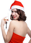 Girl whith wine — Stock Photo