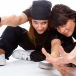 Two beautiful girls breakdancers — Stock Photo #3606618