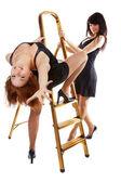 Girls near step-ladder — Stock Photo