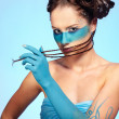 Girl's fantasy blue body-art — Stock Photo #3750790