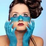 Girl's fantasy blue body-art — Stock Photo #3750808
