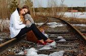 Girl on rail — Stock Photo
