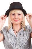 Dívka v létě klobouk — Stock fotografie
