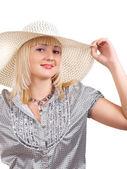女孩在夏天帽子 — 图库照片