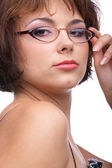 Serious model in glasses — Stock Photo