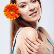 Beautiful girl with gerbera — Stock Photo #4253427