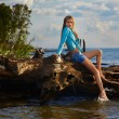 Blonde posing near flotsam — Stock Photo #4254027
