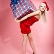 Xmas girl with gift — Stock Photo #4256222