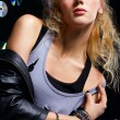 Beautiful blonde girl rocker — Stock Photo #4256613