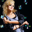 Stock Photo: Beautiful blonde girl rocker