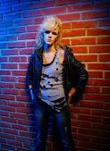 Blonde girl glam rocker — Stock Photo