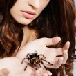 Stock Photo: Girl with spider