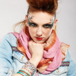 Glam punk girl — Foto Stock