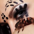 Постер, плакат: Spider girl with spider Brachypelma smithi