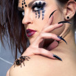 Spider-girl and spider Brachypelma smithi — Stock Photo #4325382