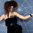Spider girl and web — Stockfoto