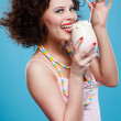 Girl with milk shake — Stock Photo
