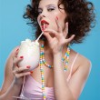 Girl with milk shake - Foto Stock