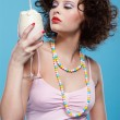 Girl with milk shake — Foto de Stock