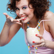 Girl with milk shake — Stockfoto #4325876