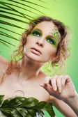 Dryad girl with fern — Stock Photo