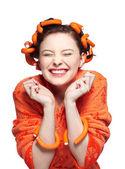 Girl in orange — Stock Photo